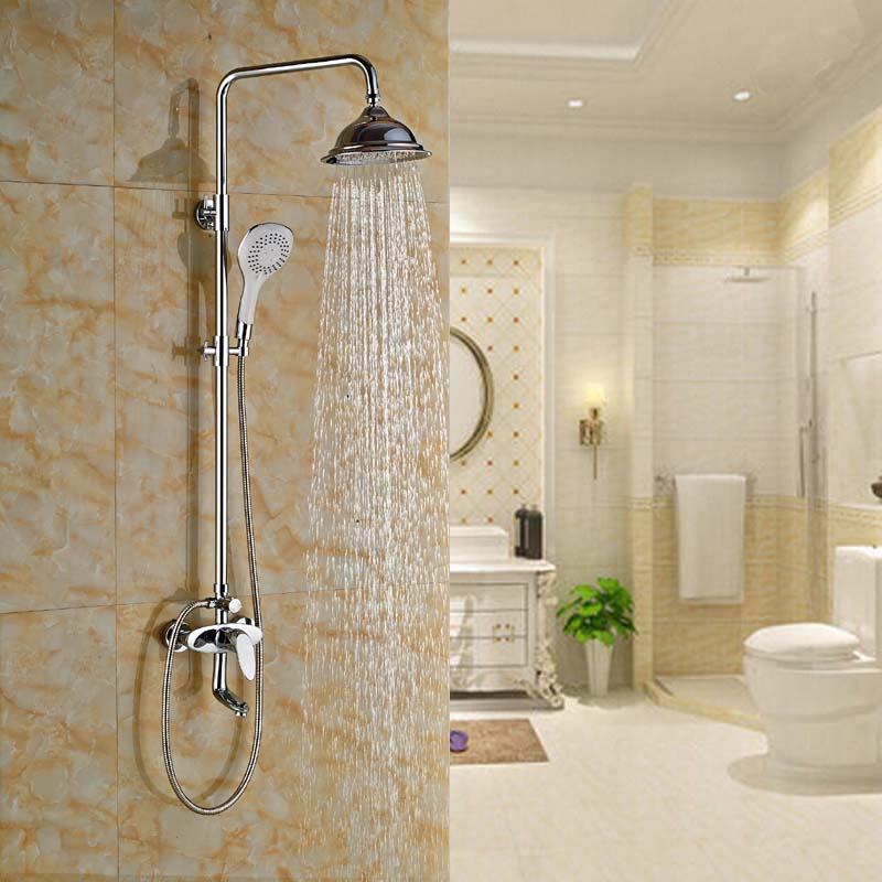 ③bathroom 8 Rainfall Tub Shower Mixer Faucet Wall Mount Handheld