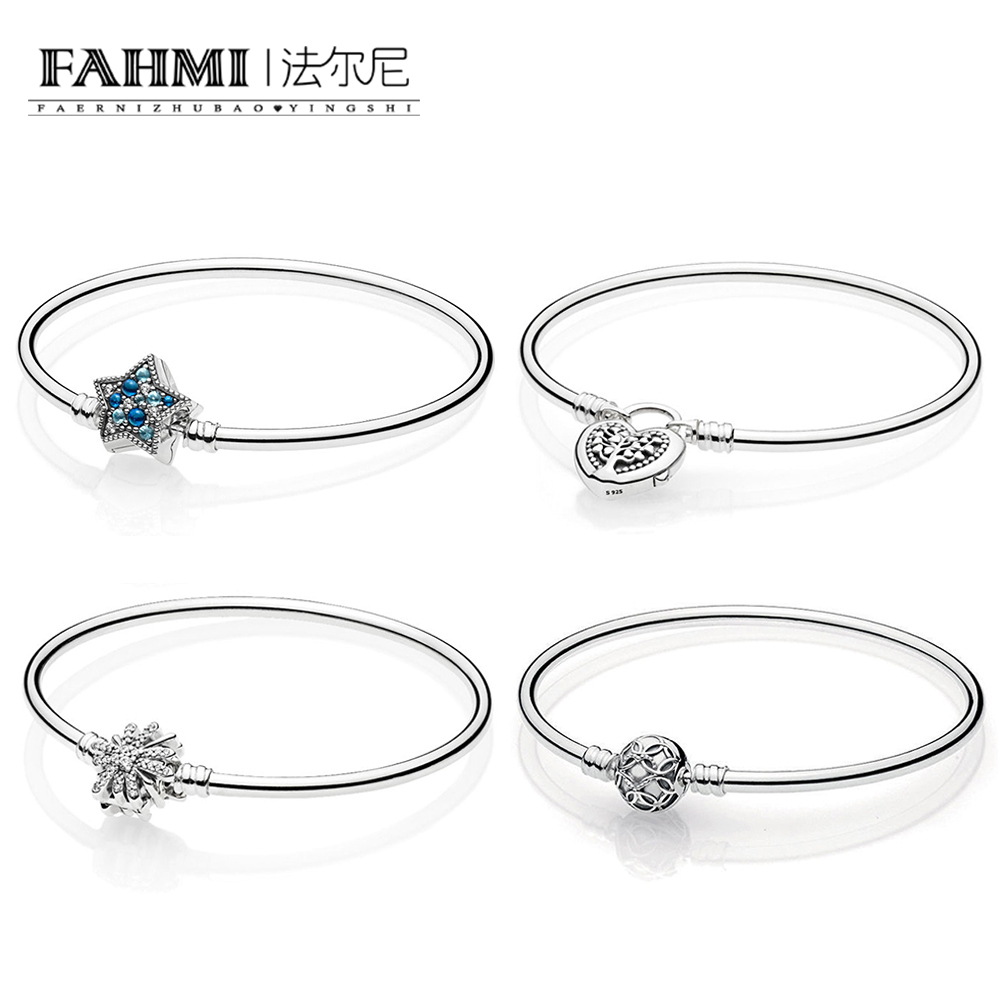 FAHMI 100% 925 Sterling Silver MOMENTS  BANGLE WITH TREE OF LOVE CLASP Shining Star Cuff Bracelet Dazzling Fireworks BangleFAHMI 100% 925 Sterling Silver MOMENTS  BANGLE WITH TREE OF LOVE CLASP Shining Star Cuff Bracelet Dazzling Fireworks Bangle