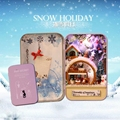 Snow holiday Christmax Box theatre/secret DIY mini Dollhouse 3D Miniature Lights+Dolls+Metal box+Wooden support+Furnitures Toy