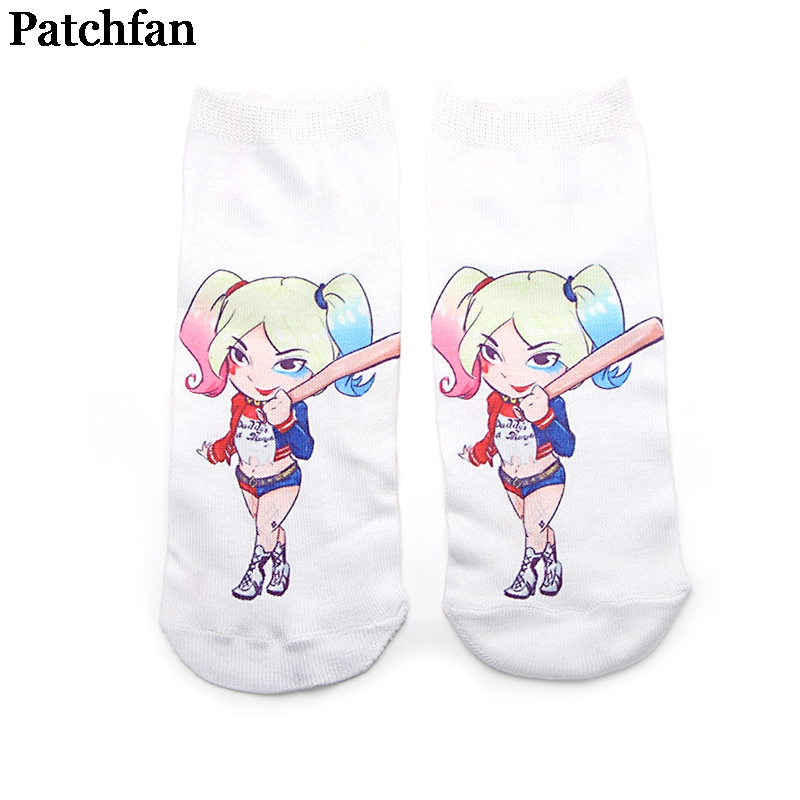 Patchfan Suicide Squad harleen quinzel New Cartoon Anime Printed Women Socks Ankle Kawaii party favor cosplay gifts A2085