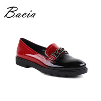 Bacia Chian Decorated Women Round Toe Loafers Gradient Spring Summer Flat Leather Shoes Black Blue Red