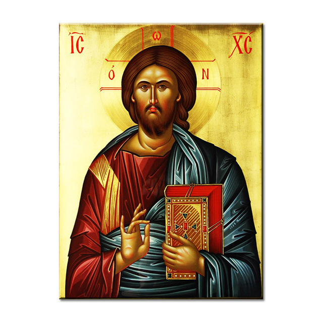 jesus christ pantocrator ful buddha Wall painting print on canvas ...