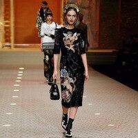 2020 Summer Vintage Black Angel Print Party Long Dress Women Runway Designer Luxury Sequins Ladies Midi Dresses Clothes