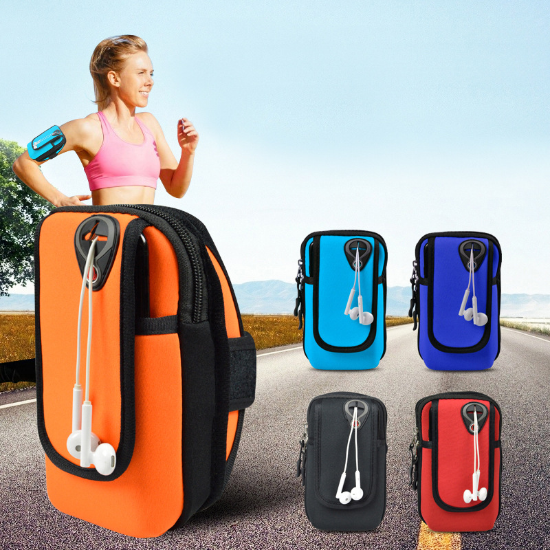 (5.5-6inches)Waterproof Small Fitness Running Bag Wallet Jogging Phone Holder Purse Armband Gym Arm Bag Sports Accessories Black