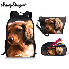 2019 Dachshund Printed Women 3pcs Set Backpack School Bag For Girl Boy Travel Kawaii Bags Man Makeup Case Small Pencil Zipper