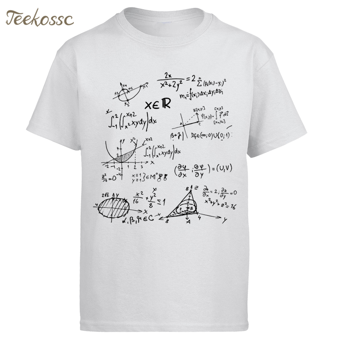 White   T     Shirt   Math Formulas Science   Shirt   Men 2018 Summer 100% Cotton   T  -  Shirt   Man O-neck Slim Fit   T  -  shirt   Fashion Men's Tops Tee