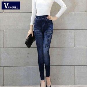 Image 4 - Vangull Women Leggings Faux Denim Jeans Leggings Sexy Long Pocket Printing Spring Winter Leggings Casual Pencil Pants Plus size