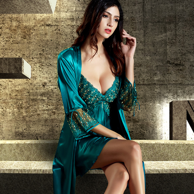 Xifenni Robe Sets Female Softness Satin Silk Sleepwear 2020 NEW Women Lace Embroidery Two-Piece Sexy V-Neck Bathrobes Set  8205