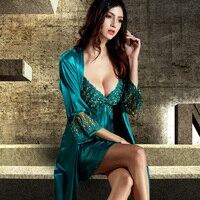 Xifenni Robe Sets Female Softness Satin Silk Sleepwear 2019 NEW Women Lace Embroidery Two Piece Sexy V Neck Bathrobes Set 8205