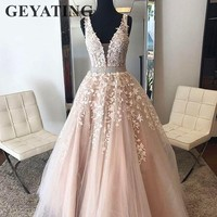 Blush Pink Flower Lace Long Evening Dresses 2019 V neck Beaded Crystal Prom Dress A line Elegant Women Tulle Formal Party Gowns