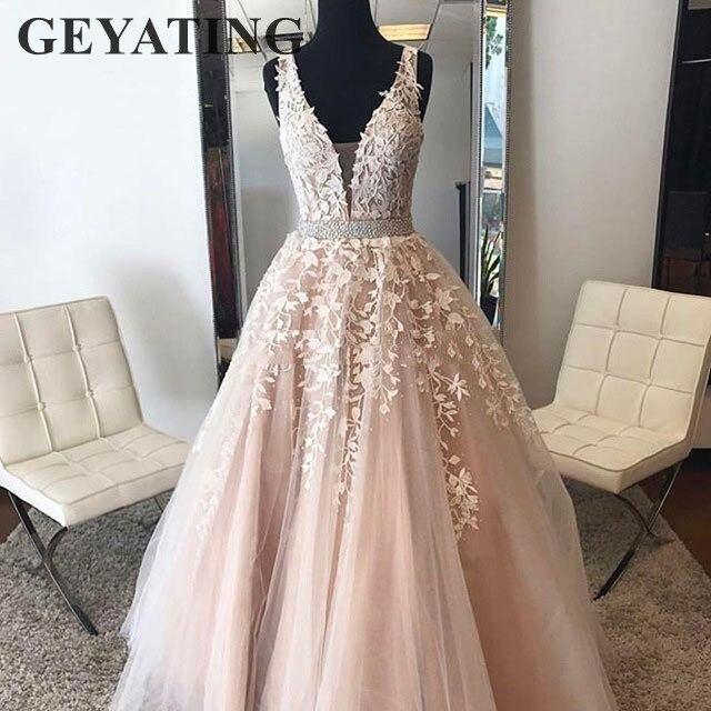 Blush rose fleur dentelle longues robes de soirée 2019 v-cou perlé cristal robe de bal a-ligne élégante femmes Tulle robes de soirée formelles