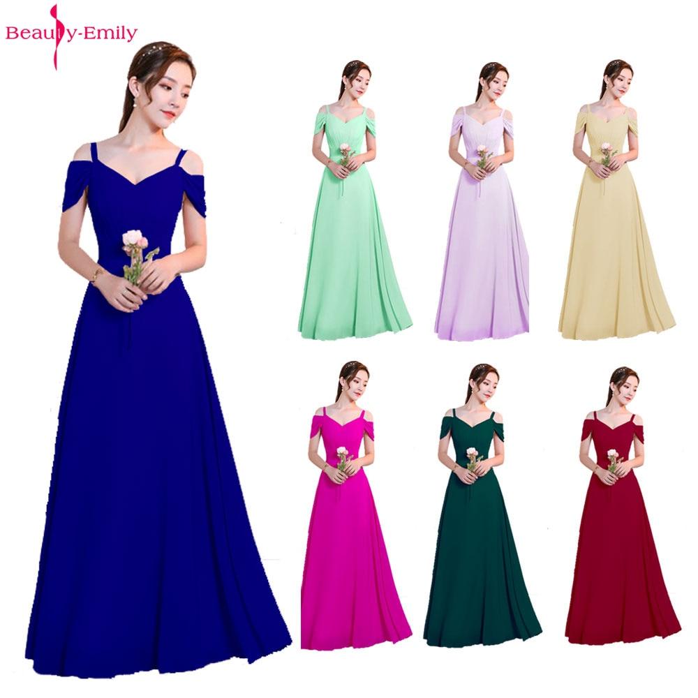 Beauté Emily personnalisé 7 Styles robes de soirée bleu élégant robe de soirée bretelles plissées robes de bal vestido de festa longo
