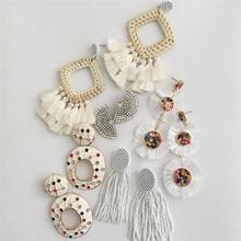 Ztech 32 White Big Earrings For Women 2019 Trendy Beads Flower Cotton Tassel Fringes Dangle Drop Wedding Jewelry