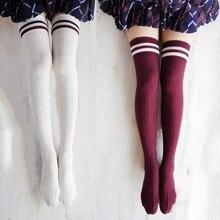 3 пар/лот горячая хлопок бедра носки женщин Большой размер за-гольфы длинные ноги meias черный полосатый шланг оптовая продажа