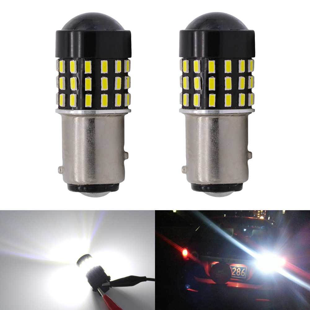 2pcs Super Bright White 1157 Bay15d 3014 54smd Lens Led Replacement Festoon Base Bulbs Car Light Leds Turn Brake Signal Tail Back Up Stop Parking Rv Lights In Lamp From