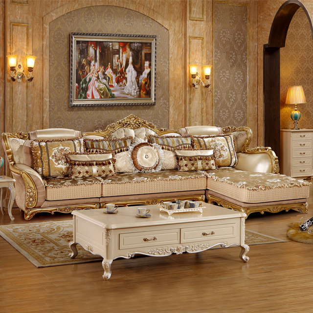 Solid Wood American Style Fabric Sofa Set For Living Room Furniture