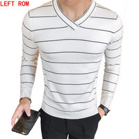 2017 Hot Autumn And Winter Brand Men S Stripes Stitching V Neck Sweater Korean Slim Was