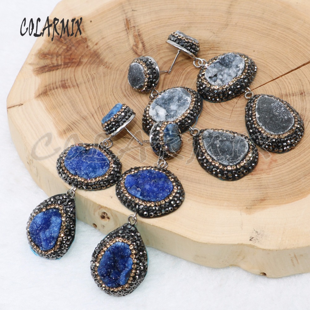 5 Pairs double druzy stone earrings mix colors stone earrings druzy jewelry earrings gift wholesale jewelry 4887-in Drop Earrings from Jewelry & Accessories    1