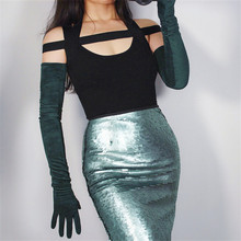 2019 New Womans Gloves Extra Long 70cm Forest Green Suede Female Dark Simulation Leather For Dance Party TB129