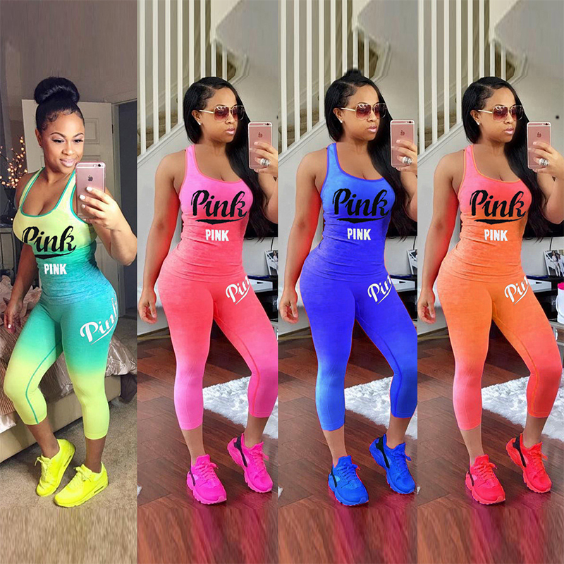Summer Women Gradient Letter Print Sportwear Sleeveless Tank Top Two Piece Set Pants Suits Casual Tracksuit Outfits