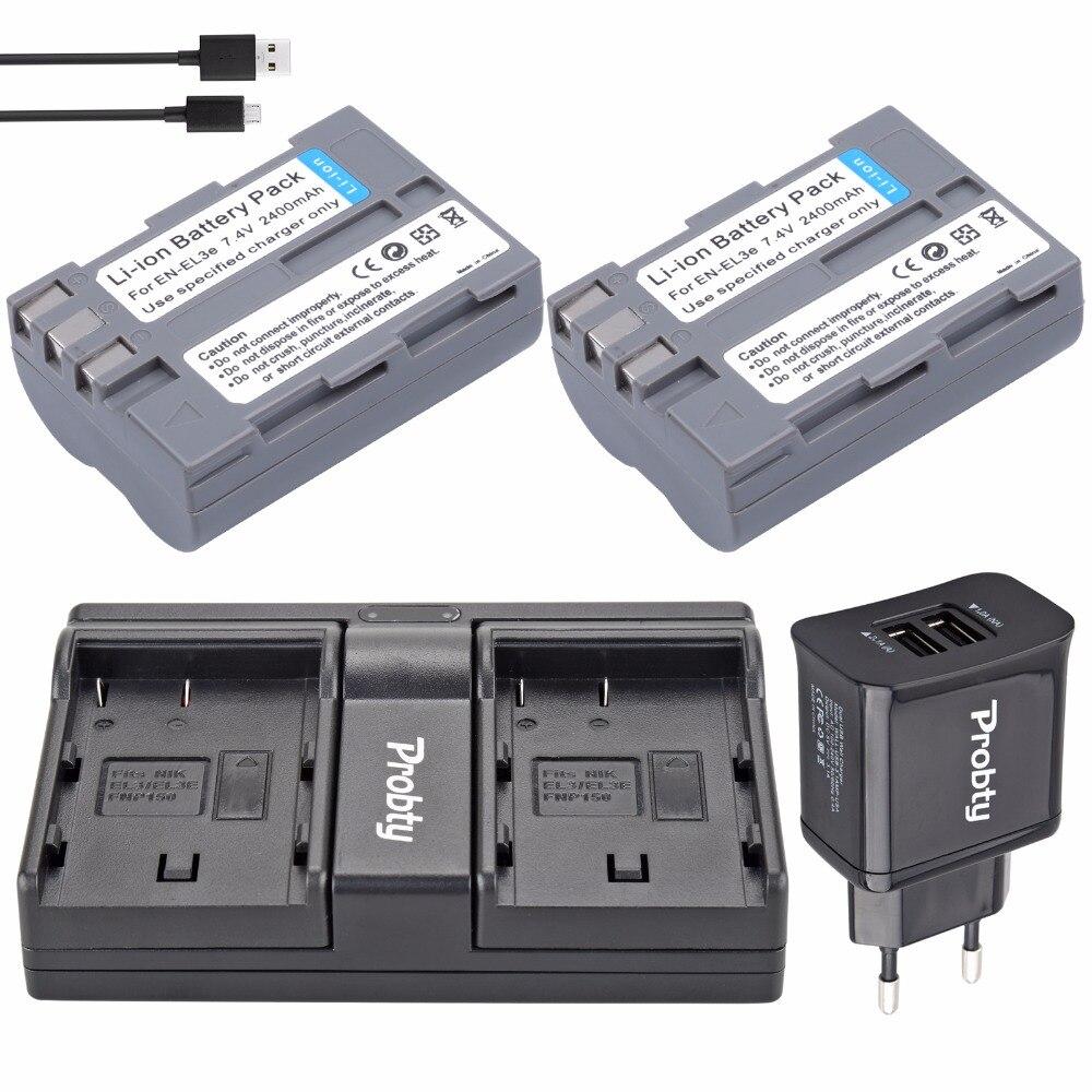 Cargador para Nikon D90 D70s D300 D70 D200 D50 Chili Power EN-EL3e Kit: 2/x Bater/ía D300s D700 D80 D100