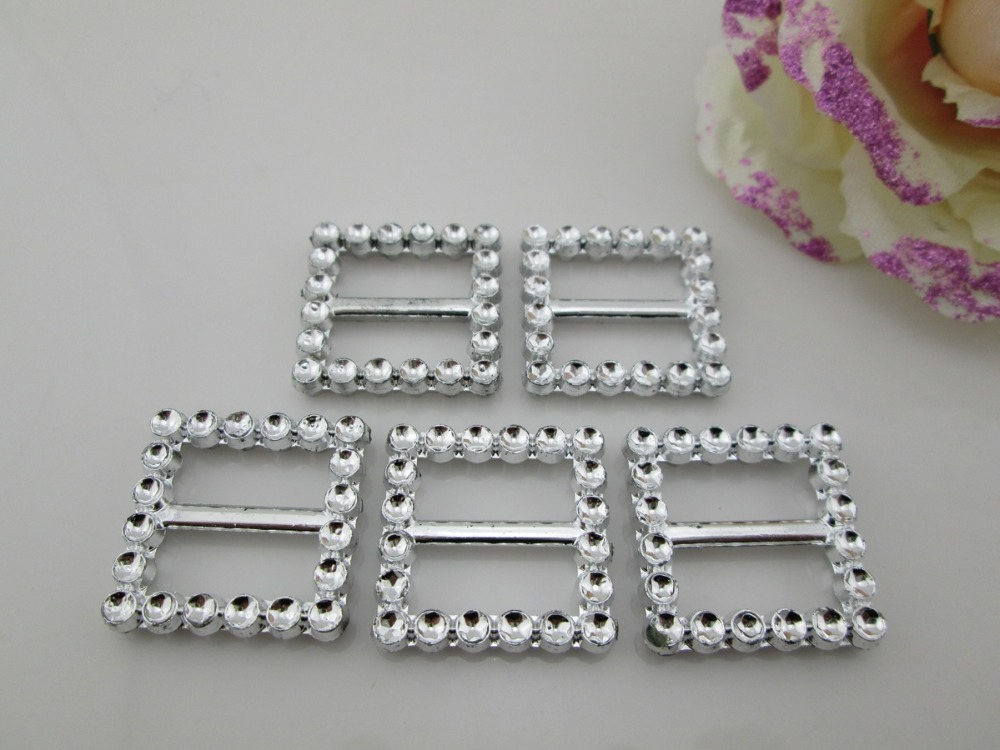 (AB95 17mm)100pcs Square Rhinestone Plastic Buckle For Craft