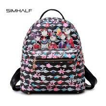 Simhalf печать мода рюкзак женщины Искусственная кожа рюкзаки для девочек-подростков рюкзак милый школьная сумка Mochila Escolar SAC DOS