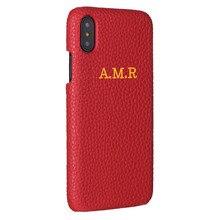 Personnalisation personnalisé en cuir de Grain de galet nom Initial de luxe pour iPhone 12 11 Pro X XR XS Max 7 7plus 8 8plus étui de téléphone