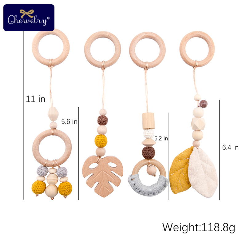 4pc Baby Wooden Teether Baby Gym Play Nordic Style Sensory Ring-Pull Beech Ring Crochet Beads Children'S Goods Crib Rattle Toys
