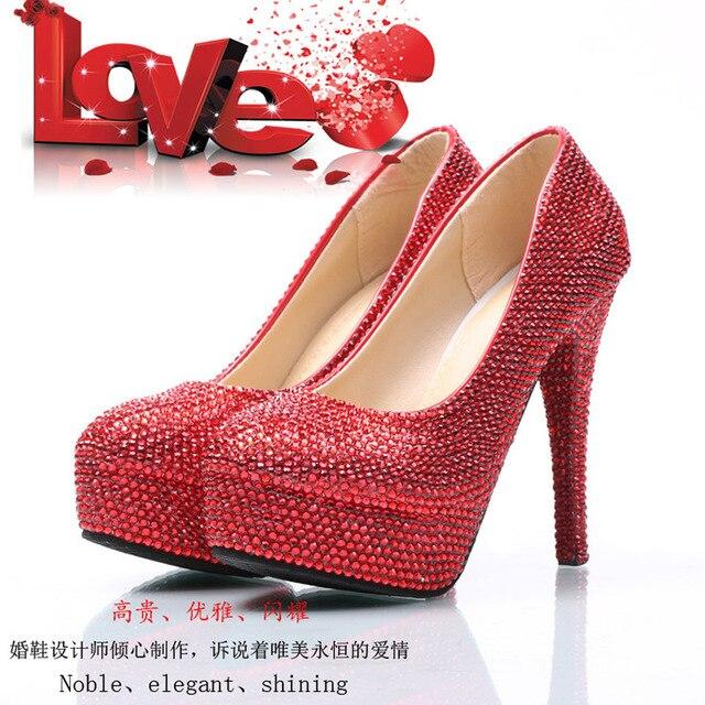 Summer Women Wedding Party Red Rhinestone Shoes Bride Sexy Elegant Red  Bottom High Heels Platform Pumps 4e64ec2a2ec6