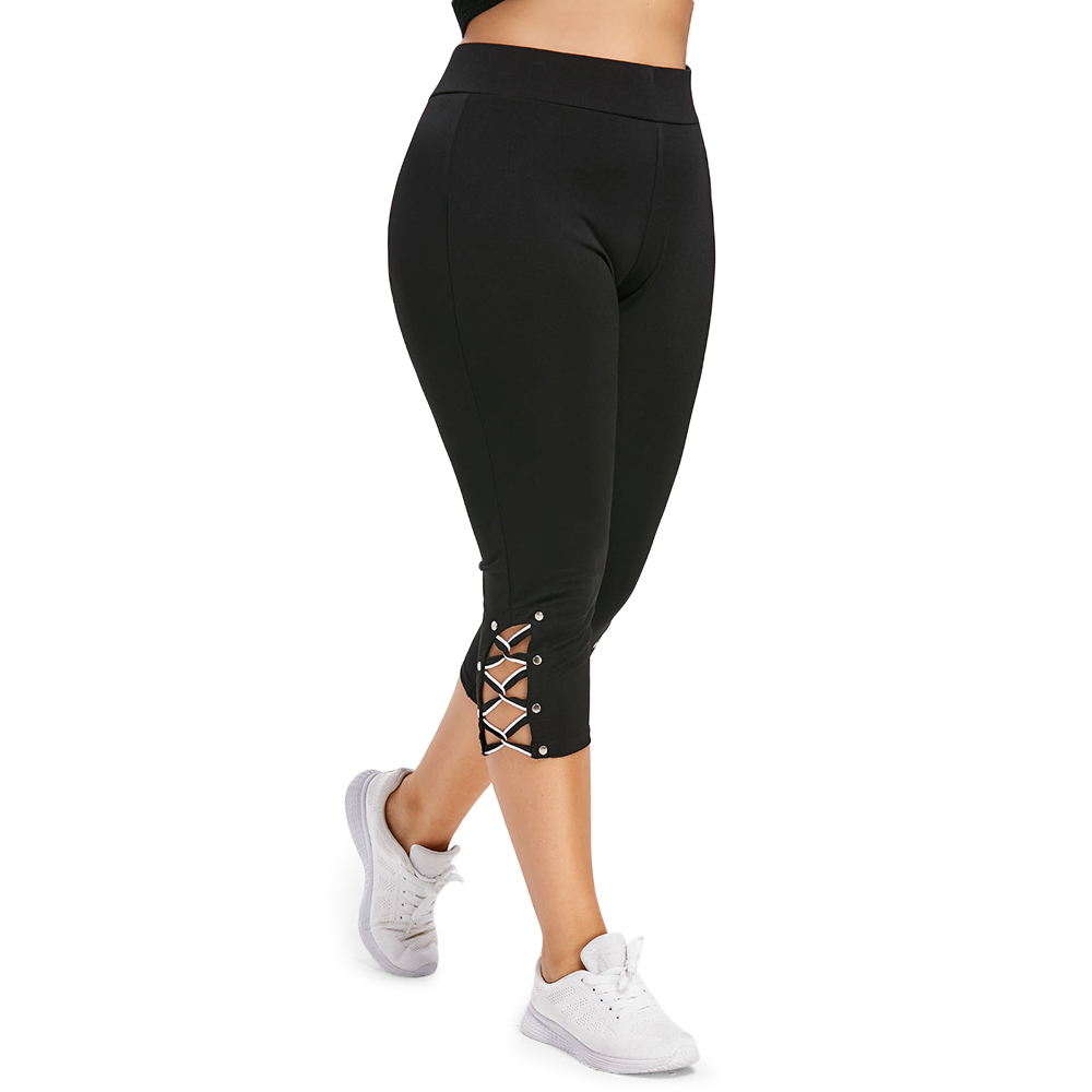 Plus Size 5XL High Waist Sexy Side Cut Out Skinny Leggings Women Fitness Leggins Capri Legins Summer 2019 Ladies Big Size Pants