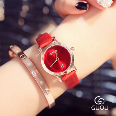 New Brand GUOU Fashion Women Watches Date Day Clock Ladies Casual Quartz WristWatch Hot Sale Leather Watch relojes mujer 2018 2018 new fashion round dial women quartz watch casual crystal leather strap ladies dress wristwatch relojes mujer woman clock
