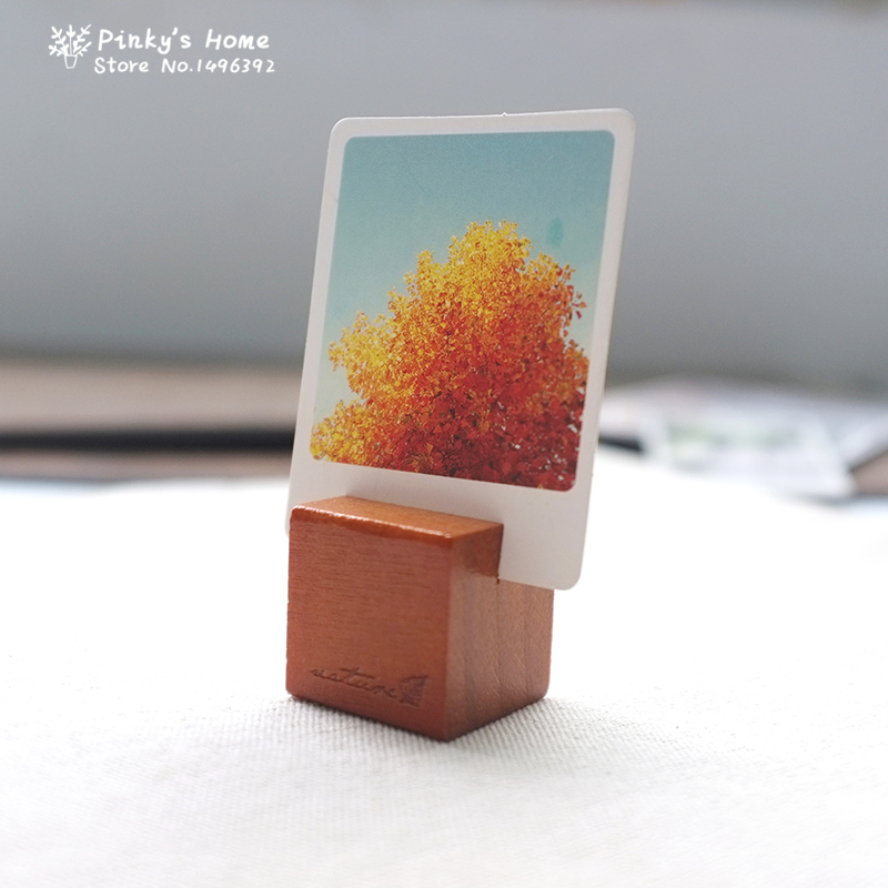 Korea Stationery Wholesale Retro Original Wooden Message Holders Stands Notes Block Photo Card Message Folders Desks Office & School Supplies Desk Accessories & Organizer