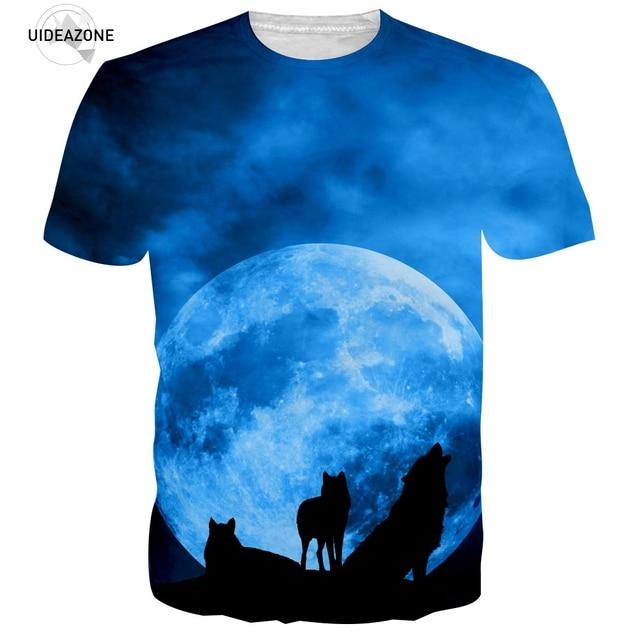 3D impreso Luna Lobo camiseta hombres 2017 manga corta o Masajeadores de  cuello gráfico fresco Camisetas e8a6e641ba6c8
