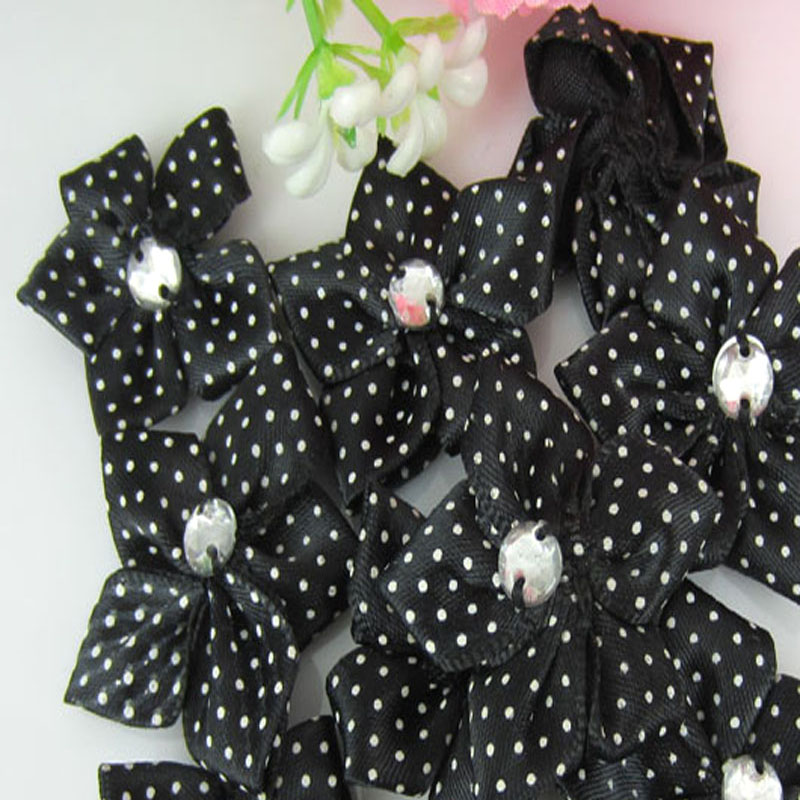 40pcs black satin dot ribbon flower with acrylic rhinestone fabric flowers  applique craft wedding decorations 3.5cm-in Artificial   Dried Flowers from  Home ... 603a3a018e77