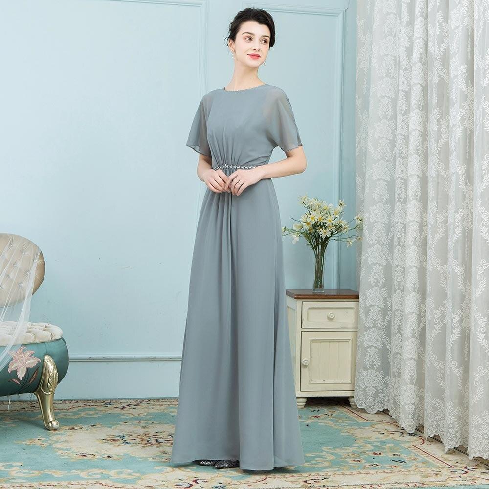 BeryLove Unique mère de la mariée robes manches courtes longue en mousseline de soie 2019 femmes robe de soirée de mariage mère robe de soirée maman - 5