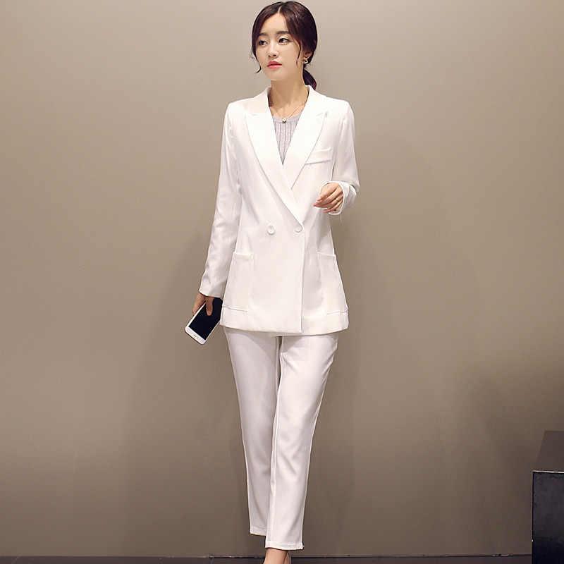 66c91701ee8 Белый Для женщин Бизнес Костюмы Формальная работа женские офисные unform  пальто с длинными рукавами Брючные костюмы