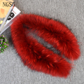 Red Fur Collar For Fashion Women Sexy Soft Type 80-100 CM Length Clothes Accessories Original Racoon Dog Material SF13060-5