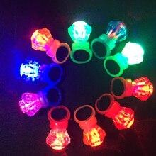 25pcs Finger Light Shiny Neon Stick LED Ring Luminous Toy Glow Dance Shining Decoration TOY For Kid