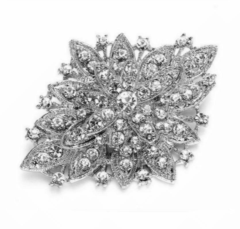 """3,7"""" большая бриллиантовая брошь, прозрачные стразы, винтажные вечерние булавки для букета - Окраска металла: Style C"""