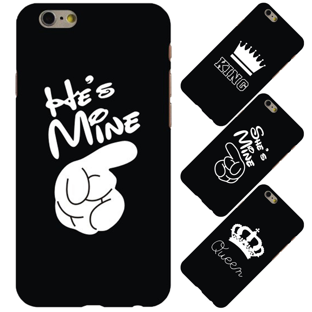official photos c0578 310ec US $4.45  Couple King Queen Fashion Letters Hard Plastic Phone Case Cover  For iPhone 6 6s Plus 7 7Plus Ultra Thin PC Back Shell Fundas-in  Half-wrapped ...