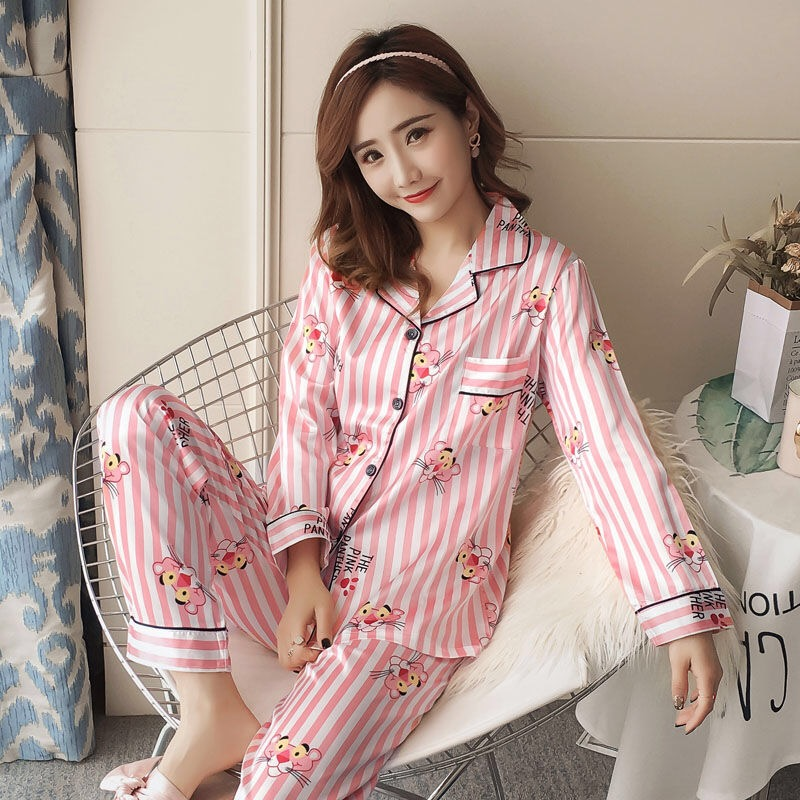 Autumn Winter 2019 New Women satin Pyjamas Silk Long Tops   Set   Female   Pajamas     Set   NightSuit Sleepwear   Sets   full sleeve Night