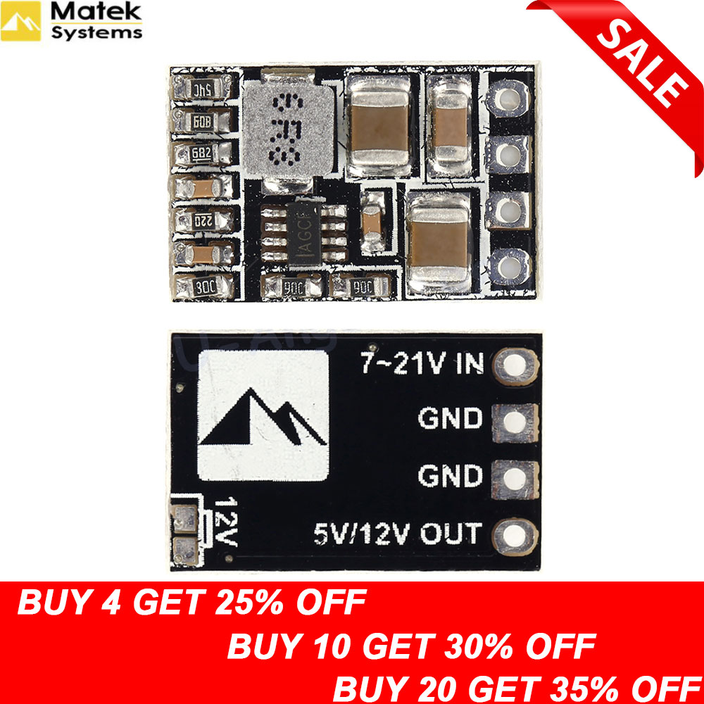 1pcs Matek Micro BEC Step-down Module 5/12 V Adjustable Output 2-5s Lipo Battery