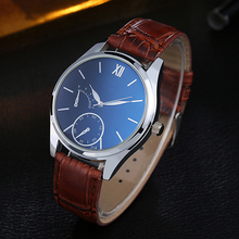 Luxury Men's Faux Leather Quartz Analog Watch Business Casual Wrist Watch Gift