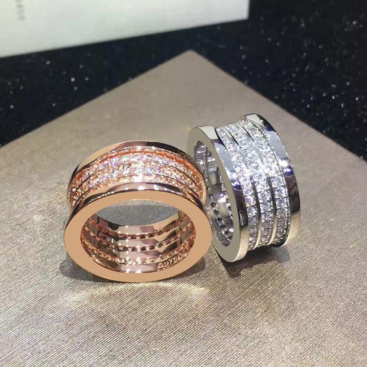 Brand jewelry Fashion luxury wedding titanium steel three spring full CZ ring couple engagement ring logo and gift
