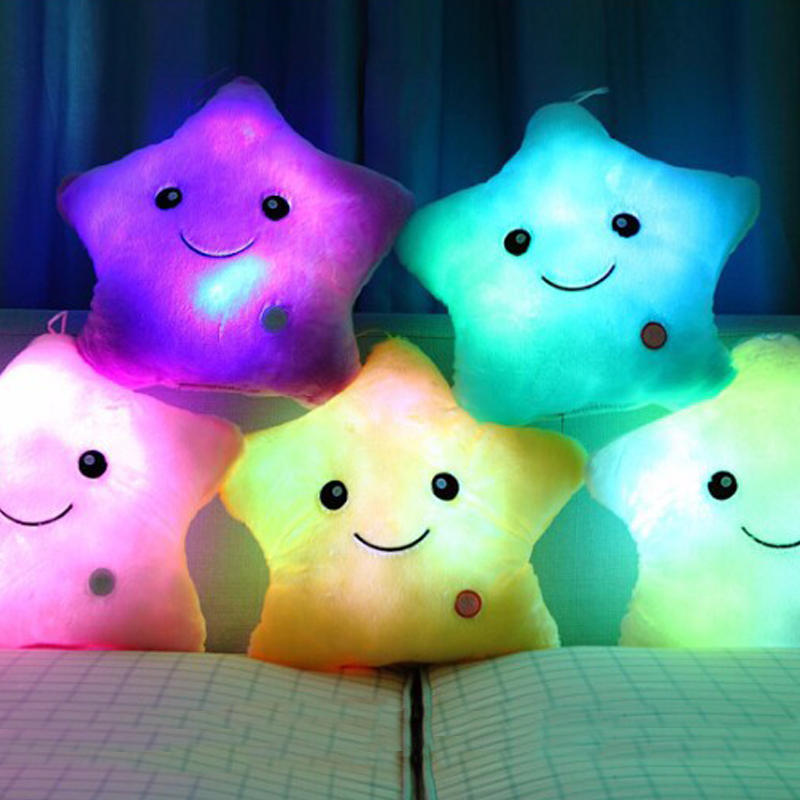 1pc 40*35 Star Pillow Luminous Pillow,Led Light Pillow,Plush Pillow, Hot Colorful Stars,Kids Toys,Birthday Gifts,Christmas Toys best girl toys 2017