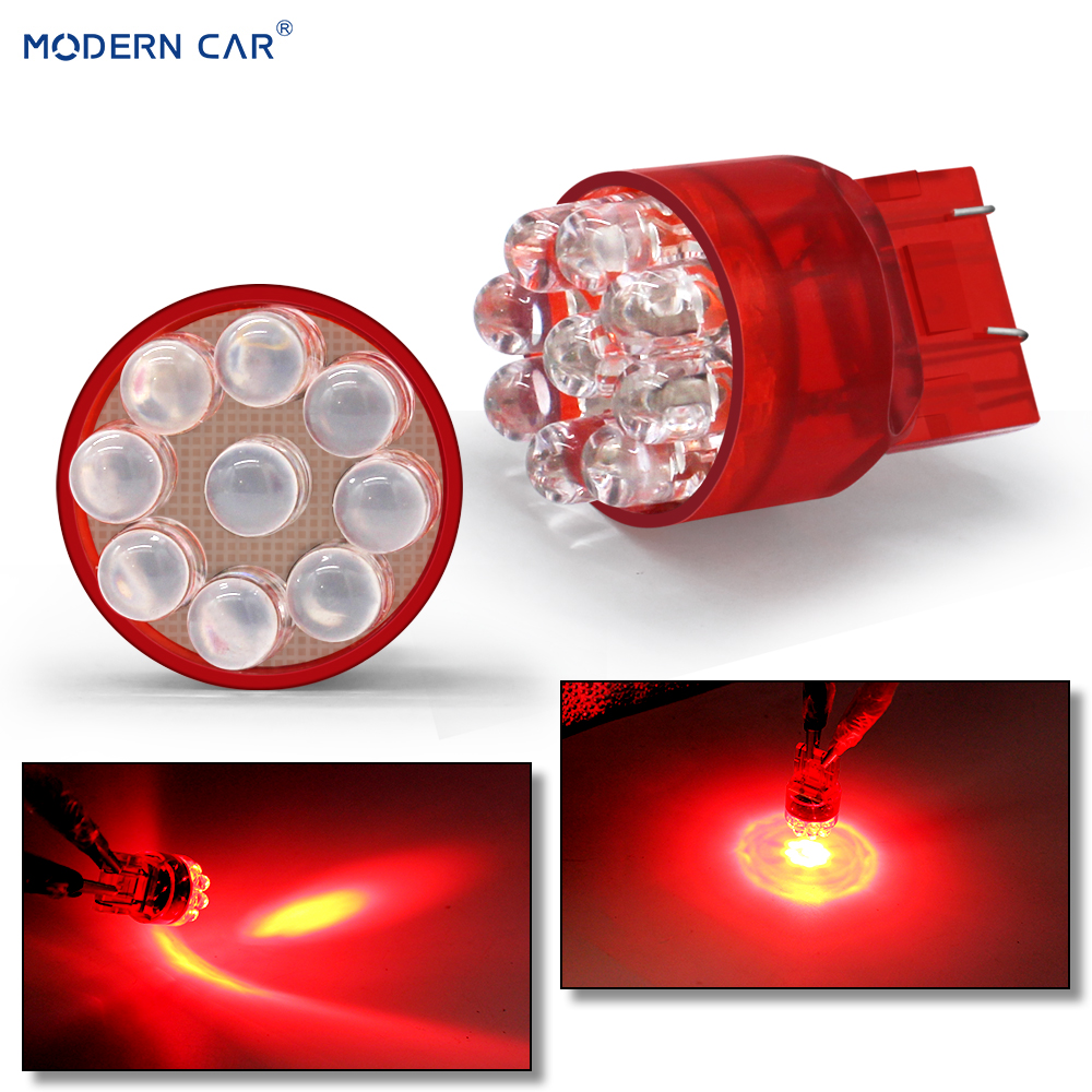 MODERN CAR 1pcs W5W T10 LED Light Bulbs For Auto 3w 7443 4/6/9LED Car Brake Reverse Light DC 12V Lamp Turn Signal T20 Blubs Red image