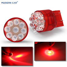 MODERN CAR 1pcs W5W T10 LED Light Bulbs For Auto 3w 7443 4/6/9LED Car Brake Reverse Light DC 12V Lamp Turn Signal T20 Blubs Red