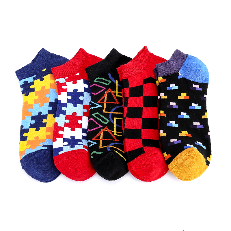 Summer Ankle Puzzle Funny Invisible Boat Low Cool Socks Short Half Creative Socks Women Men Socks Cotton Happy Casual Socks Male