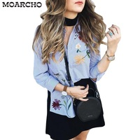 Muiches Chic Floral Embroidered Women Blouses Winter Long Sleeve Striped Shirt Women Tops 2017 Casual Bird